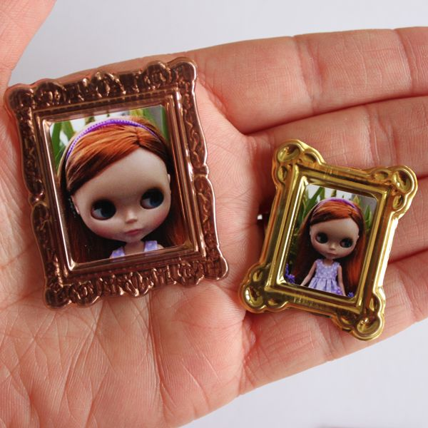 make miniature photo frames made from dollar store foil stickers - Miniature Frames