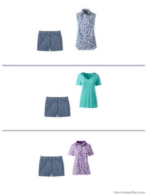 I Want to Pack ALL of my Clothes! - The Vivienne Files #travelwardrobesummer 3 ways to wear chambray shorts from a spring and summer travel capsule wardrobe #travelwardrobesummer