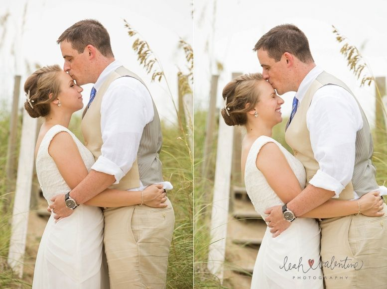 Outer Banks Wedding Photography, bride and groom on the beach with sea grass in the background - Leah Valentine Photography