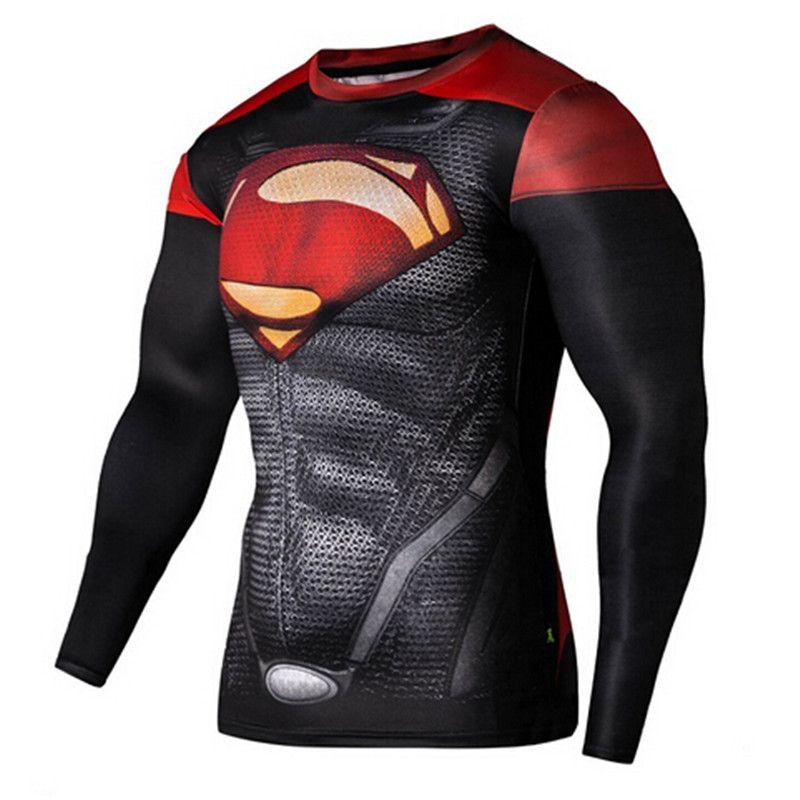 21544418fd Barato Mens ginásio roupas esporte da aptidão tshirt 3D Superman   capitão  américa manga longa T Shirt homens Crossfit compressão camisa