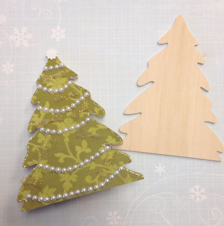Wood christmas tree cutout - We Decorated A Wood Christmas Tree Cutout With Paper And Pearls What A Cute And
