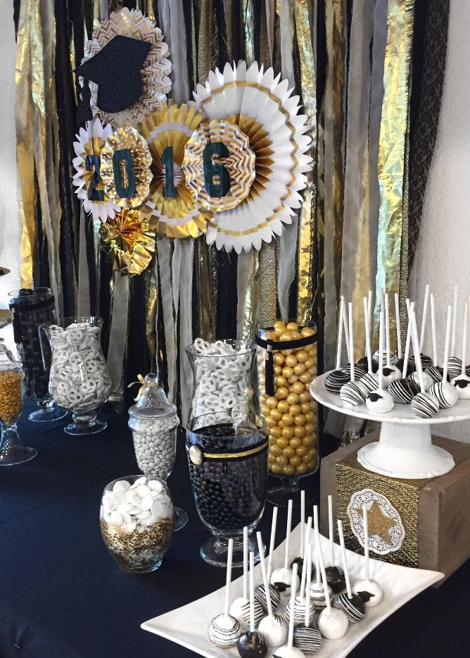 Graduation party graduation dessert table black white and for Gold home decorations
