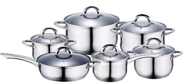 12pc Stainless Steel Induction Cookware Set Cooking Pot Casserole