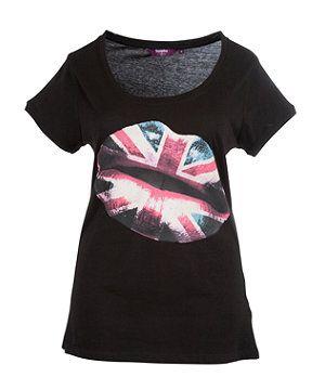 Black (Black) Inspire Union Jack Lips Printed Tee | 253682601 | New Look