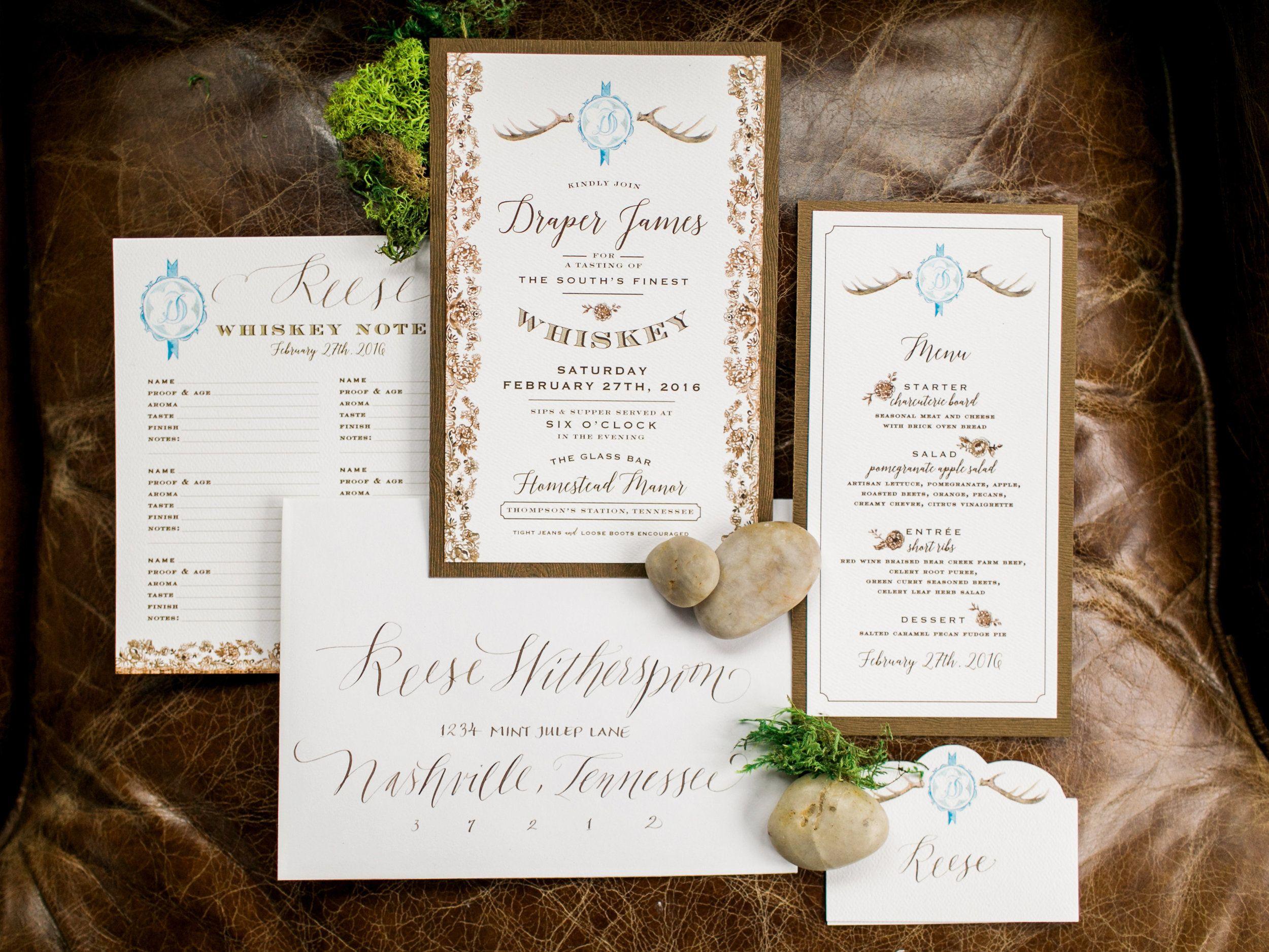 Draper James party invitation / style photoshoot / antlers / whiskey ...