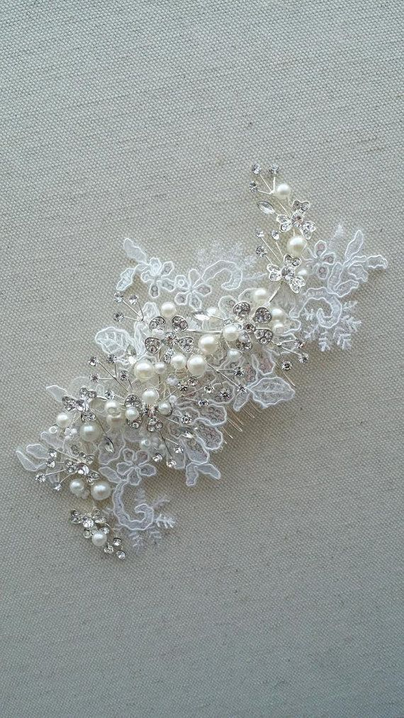 2aaddeb964 WEDDING LACE HEADPIECE This is a beautiful lace headpiece embellished with  many sparkly crystals and hand wired pearls. On the back is a 2 metal comb  to ...