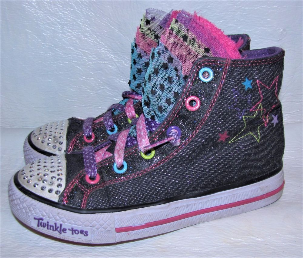 Skechers Twinkle Toes Ankle Zip Up High Top Size 1 Kids Light Up