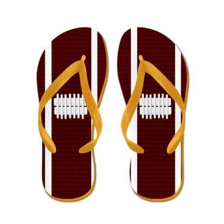 168062102889 Football Flip Flops...you can dress casual for the event  homegatefever