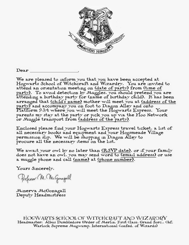 harry potter acceptance letter template - Google Search HP