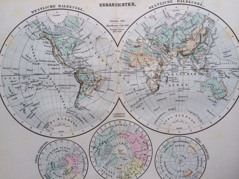 Hemispheres Original Antique Map