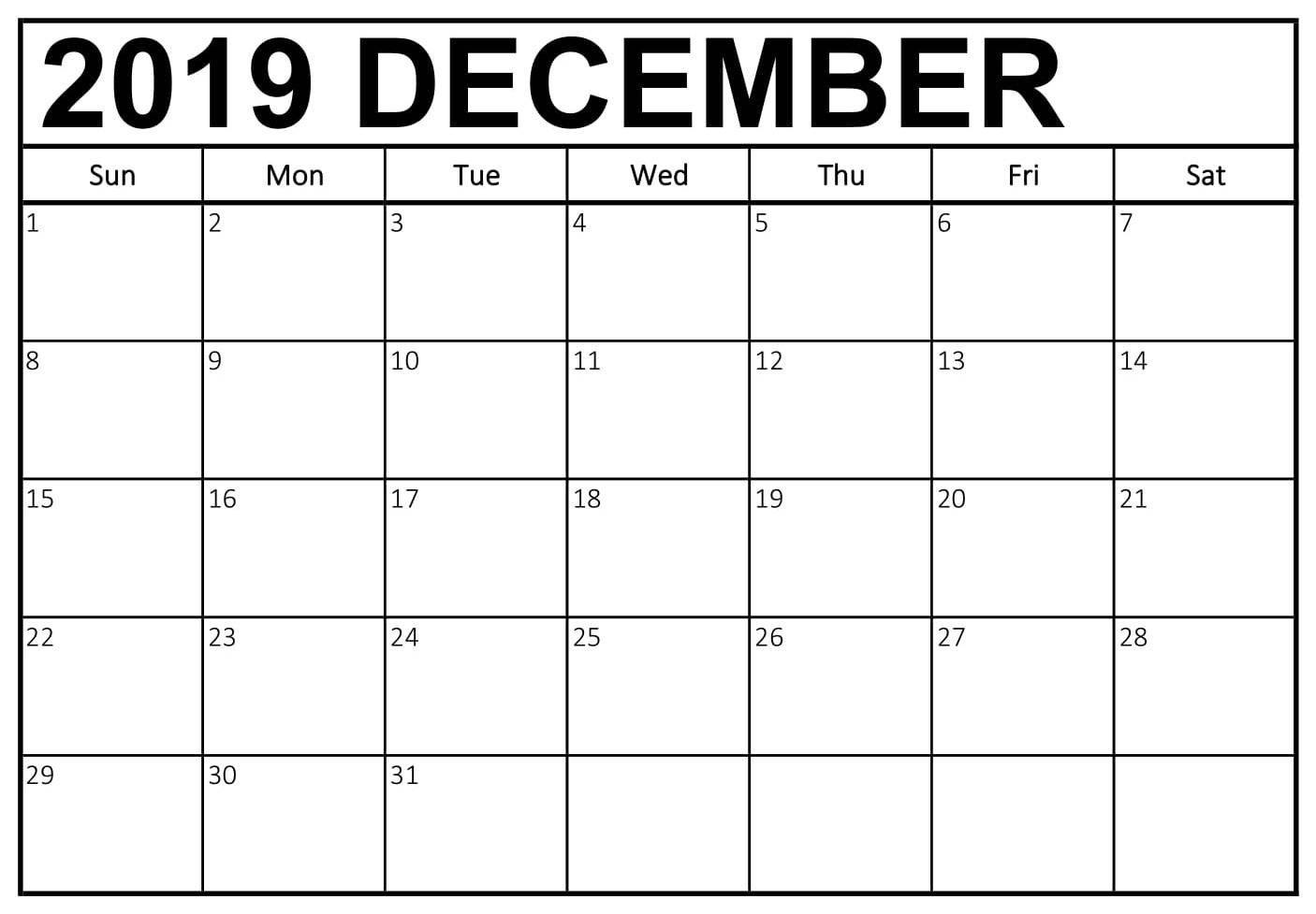 December Calendar Word