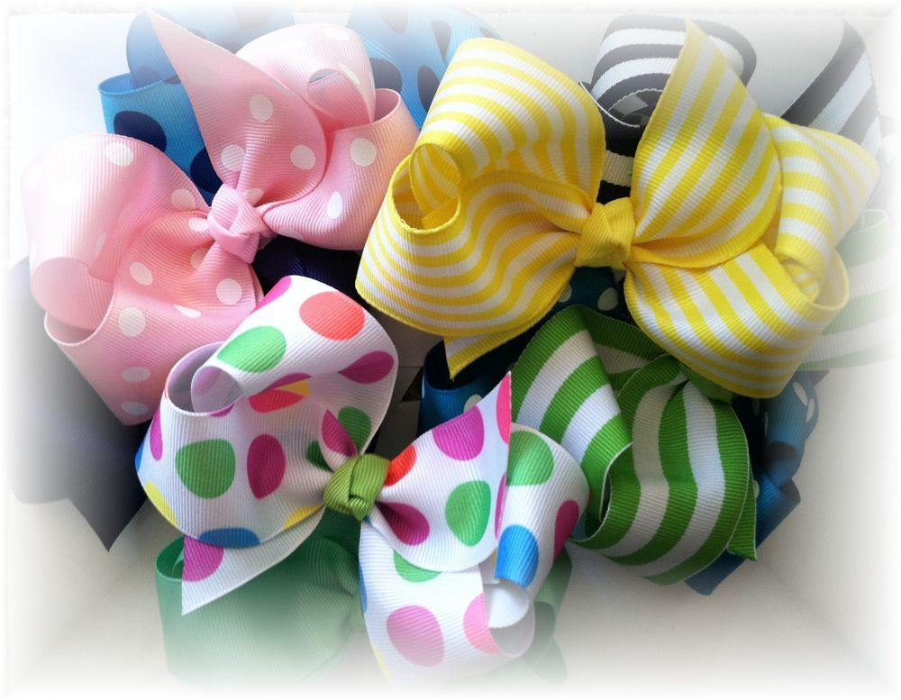 Boutique Hairbow Girls Hair Bows Double Hair Bows Big Bows Lot Set of 4 bows