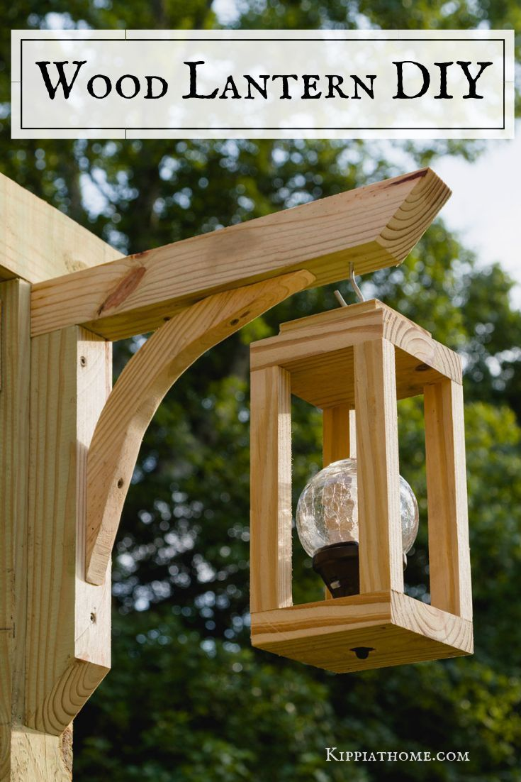 Photo of Wooden lanterns with solar lights