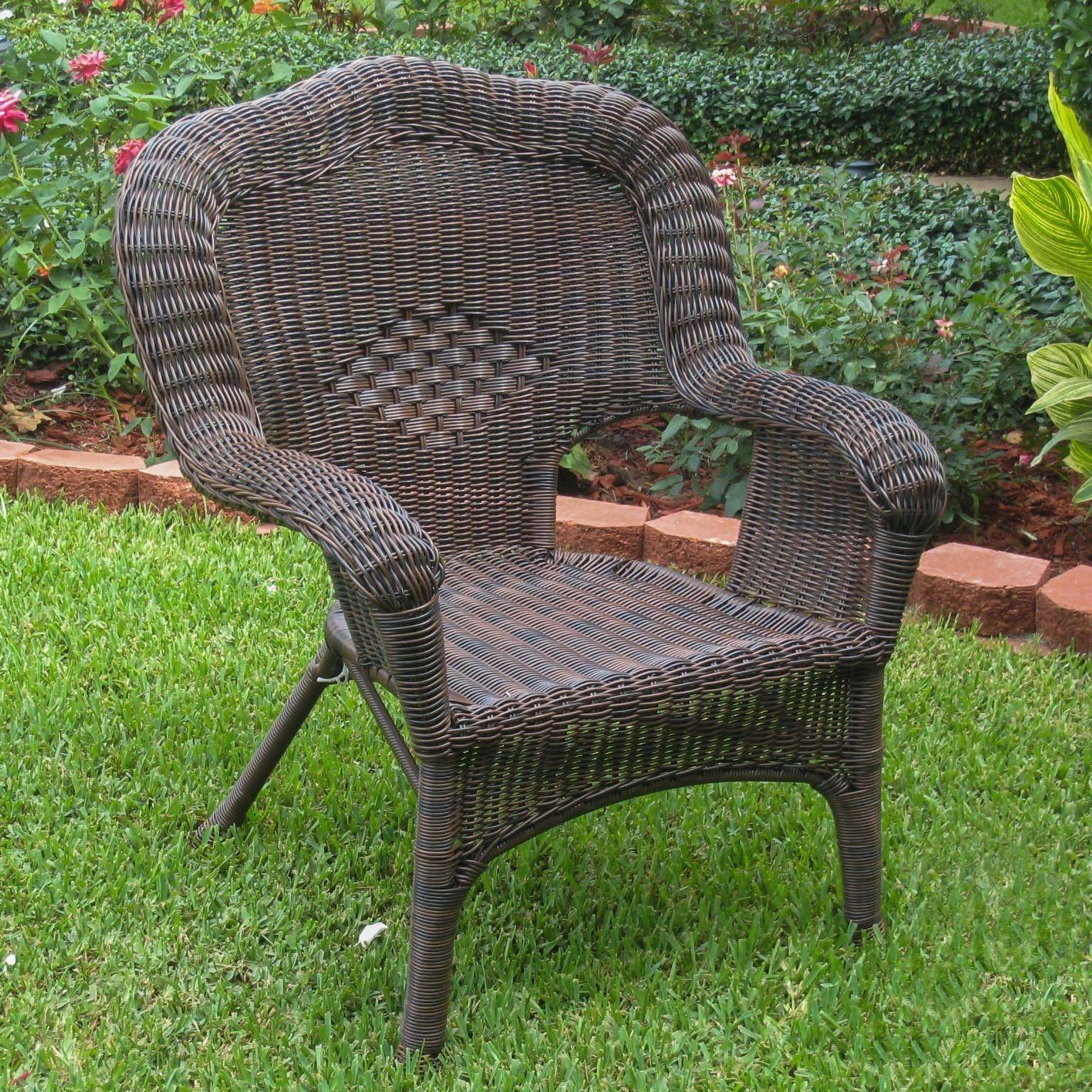 International Caravan PVC Resin Steel Frame Outdoor Chair Black