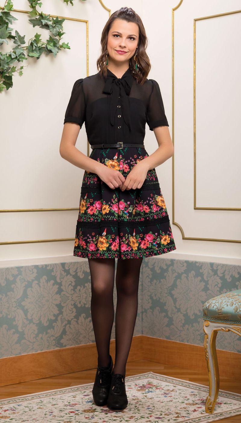 Vestido Cinto Floral Geométrico Preto   Antix