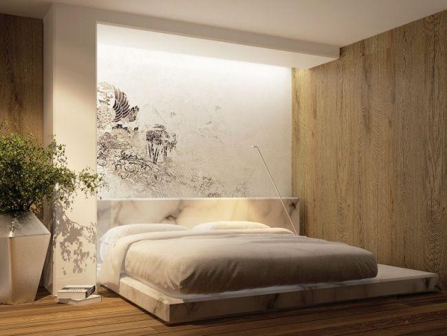 3d-Visualisierung moderne Wohnung-schlafzimmer Bett-japanischer ...