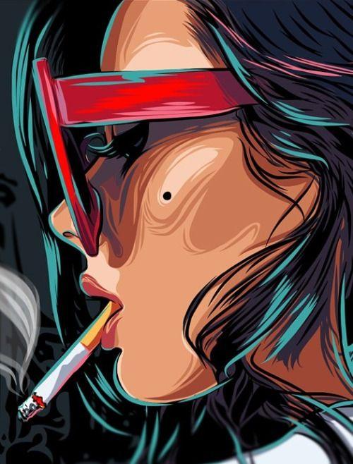 Implícita: una mujer fumando un cigarrillo  explicita: Una mujer que posiblemente  refleja problemas