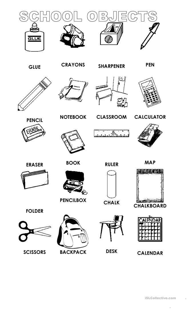 school objects classroom school classroom language y elementary schools. Black Bedroom Furniture Sets. Home Design Ideas