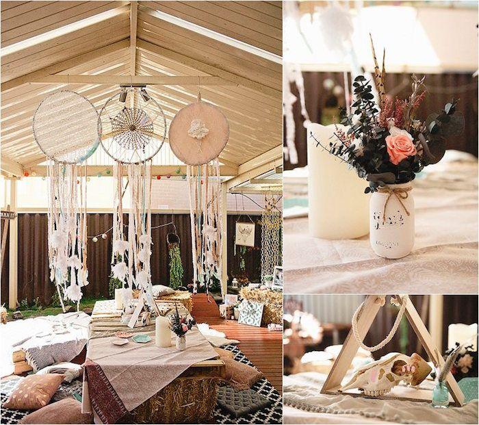 Dreamcatchers Boho Inspired Floral Centerpiece From A Birthday Party Via Karas Ideas