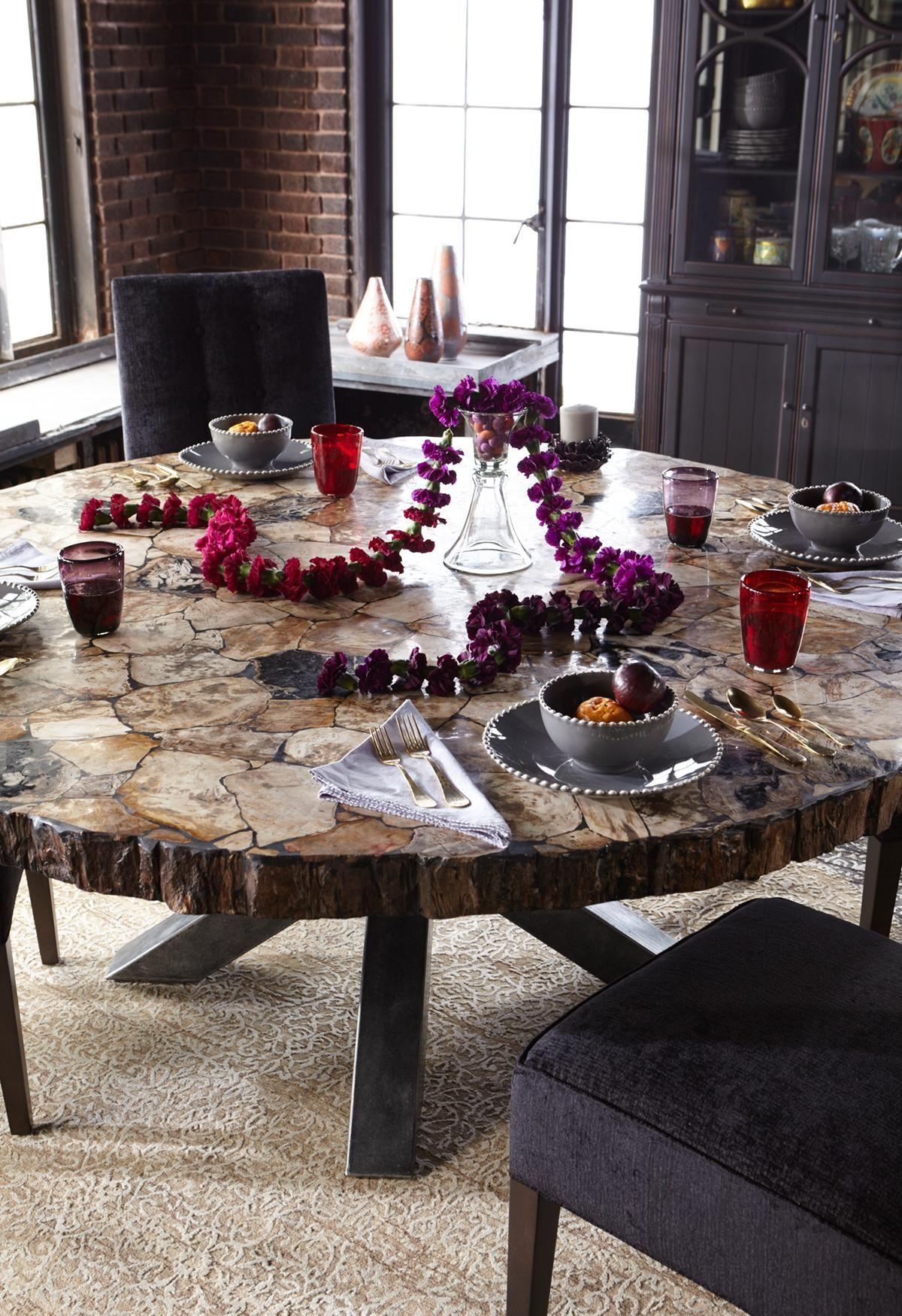 It S All About The Amazing Tabletop Made Of Petrified Wood Wood Turned To Stone As A Result Round Wood Dining Table Natural Living Room Round Dining Table