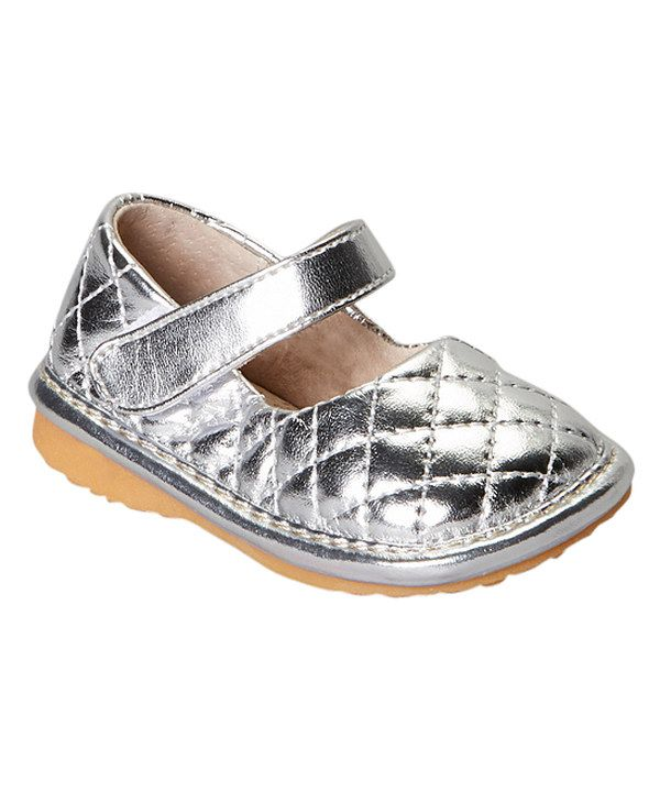 0189b61241c243 Look at this Laniecakes Silver Quilted Squeaker Mary Jane on  zulily today!