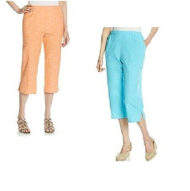 fe2996893f7 cathy daniels women s capris pants pull on cotton solid size S NEW ...