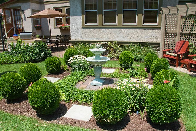 Landscaping Around Fountains | Formal Style Garden Scene With House, Double  Bird Bath Water Fountain