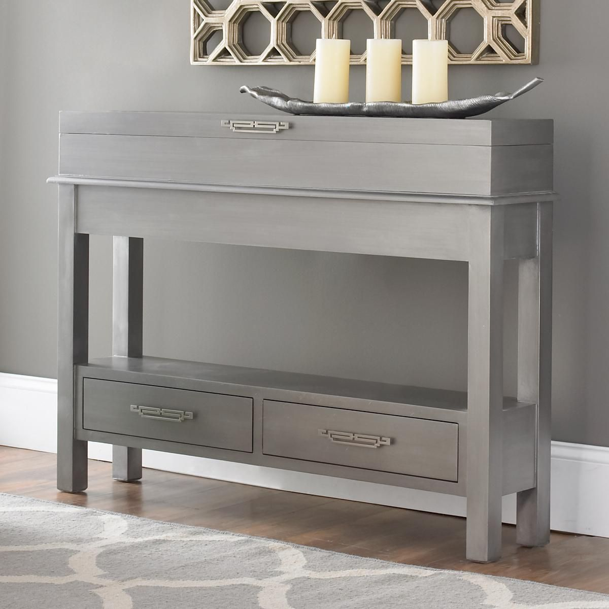 sleek narrow storage console with two drawers and a flip top this gorgeous petite console is a. Black Bedroom Furniture Sets. Home Design Ideas
