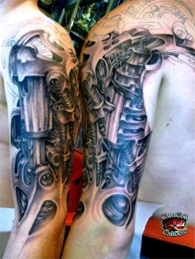 17 Mechanical Tattoo Sleeves Biomechanical Tattoo Cyborg Tattoo Steampunk Tattoo