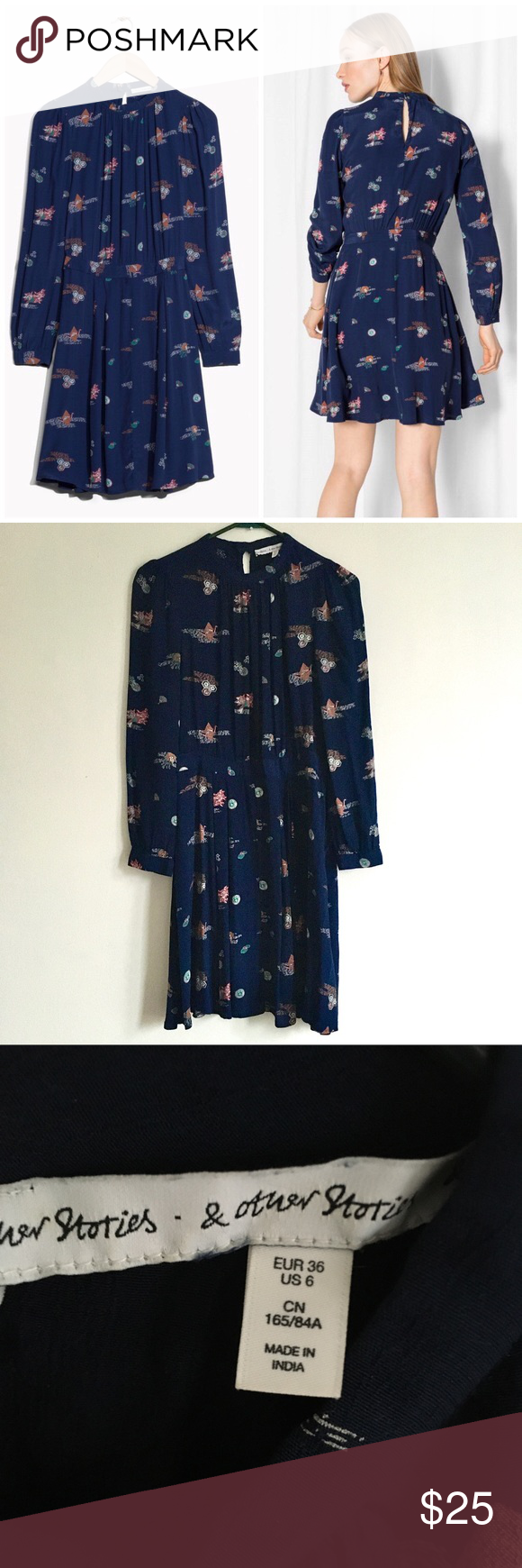 & other stories blue origami printed dress us 6 and other
