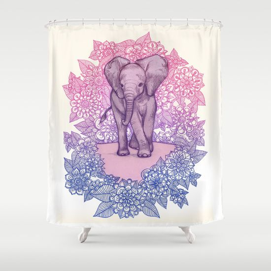 Cute Baby Elephant In Pink Purple Blue Shower Curtain Skyrim House