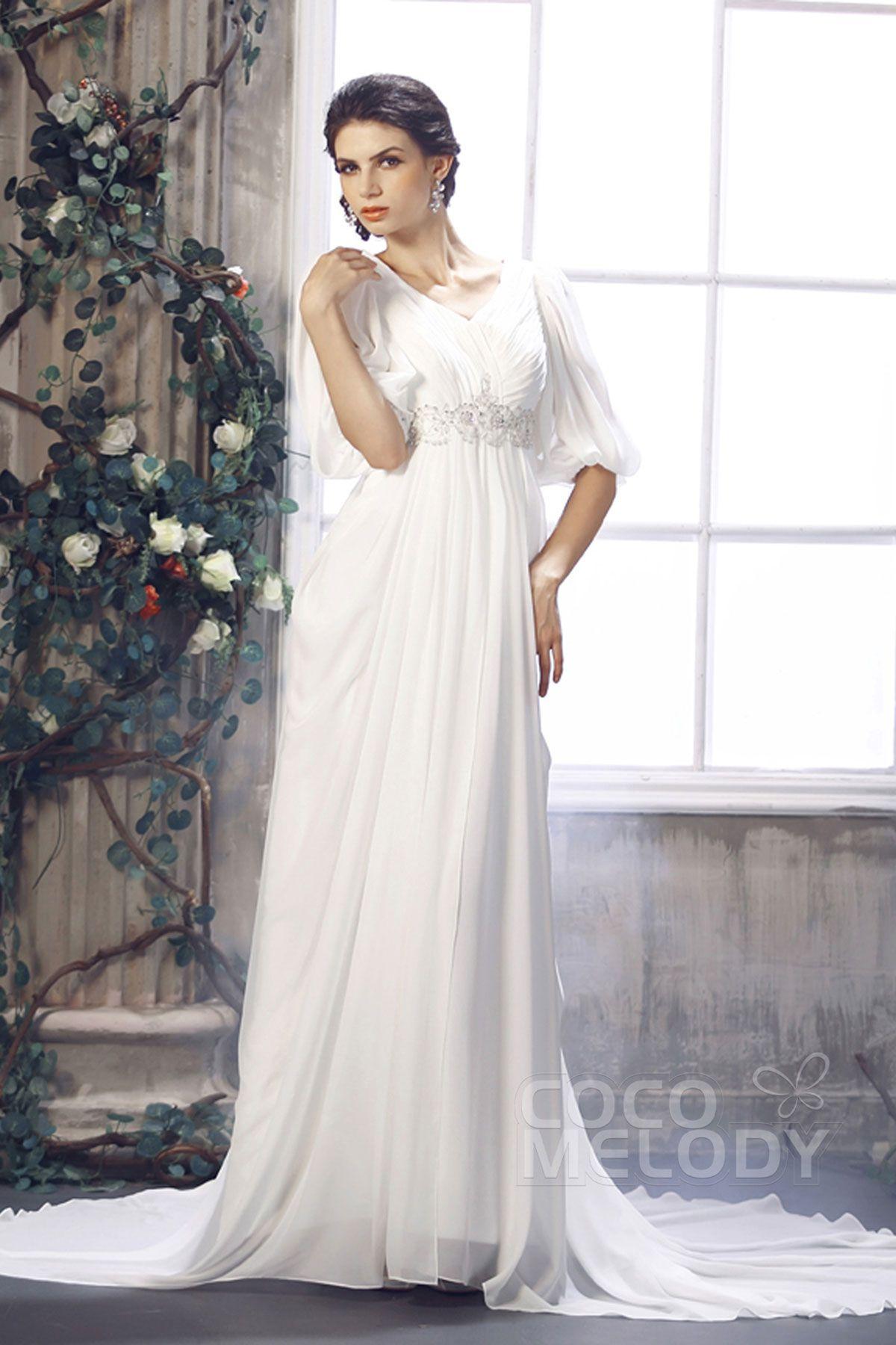 Stylish Sheath-Column V-Neck Empire Half Sleeve Court Train Chiffon Wedding…