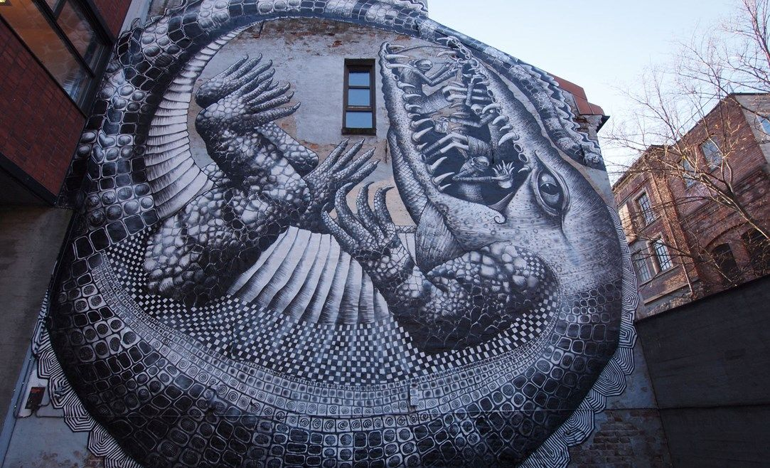 Phlegm's Alligator mural, London street art.