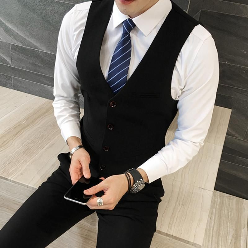 3-Piece Men's Suit Top Quality Plus Size Slim Fit Business Suit One Button Vest Blazer Pants #men'ssuits