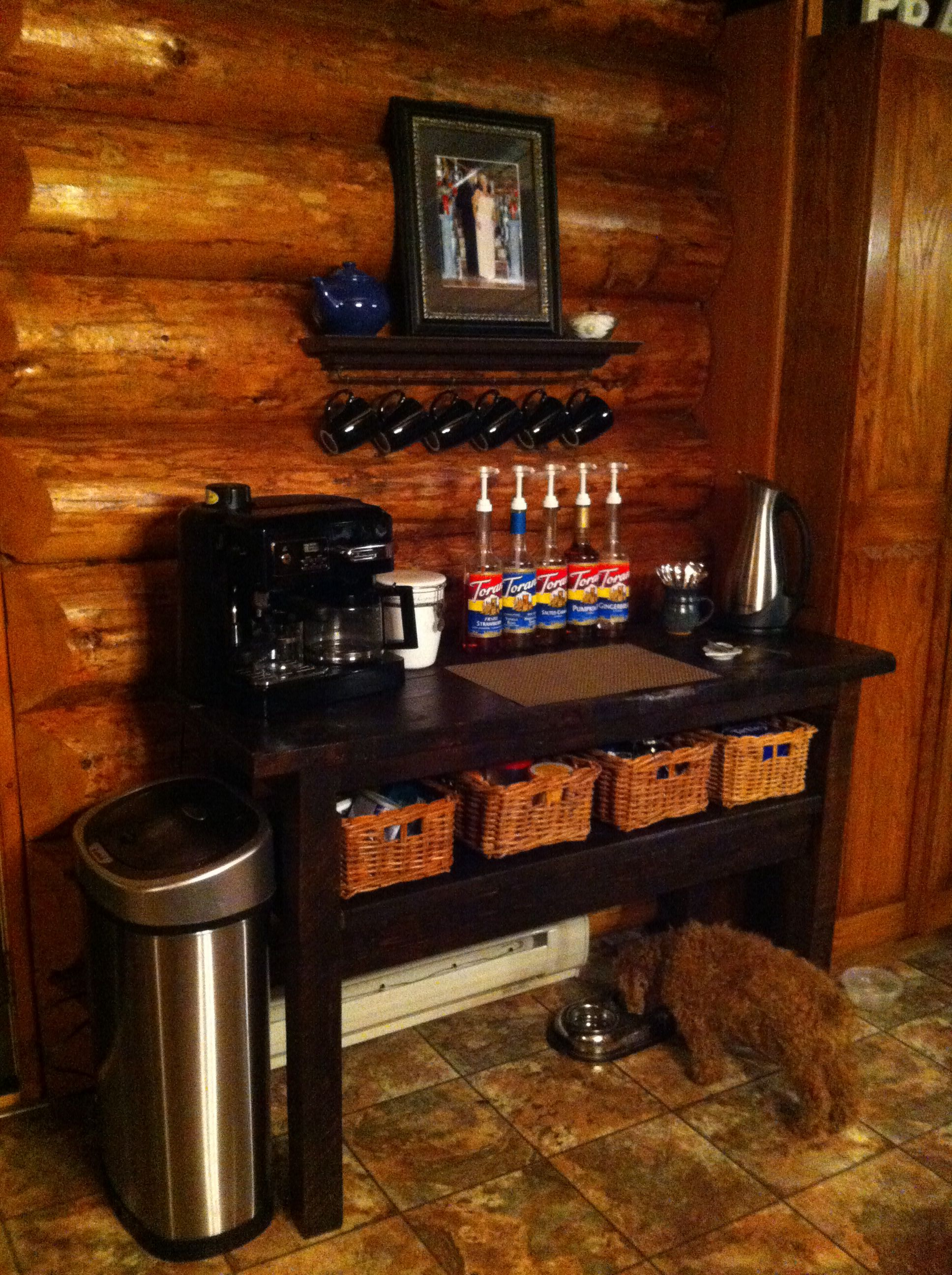 Homemade Reclaimed Wood Coffee Bar Made From An Old Beat Up Workbench