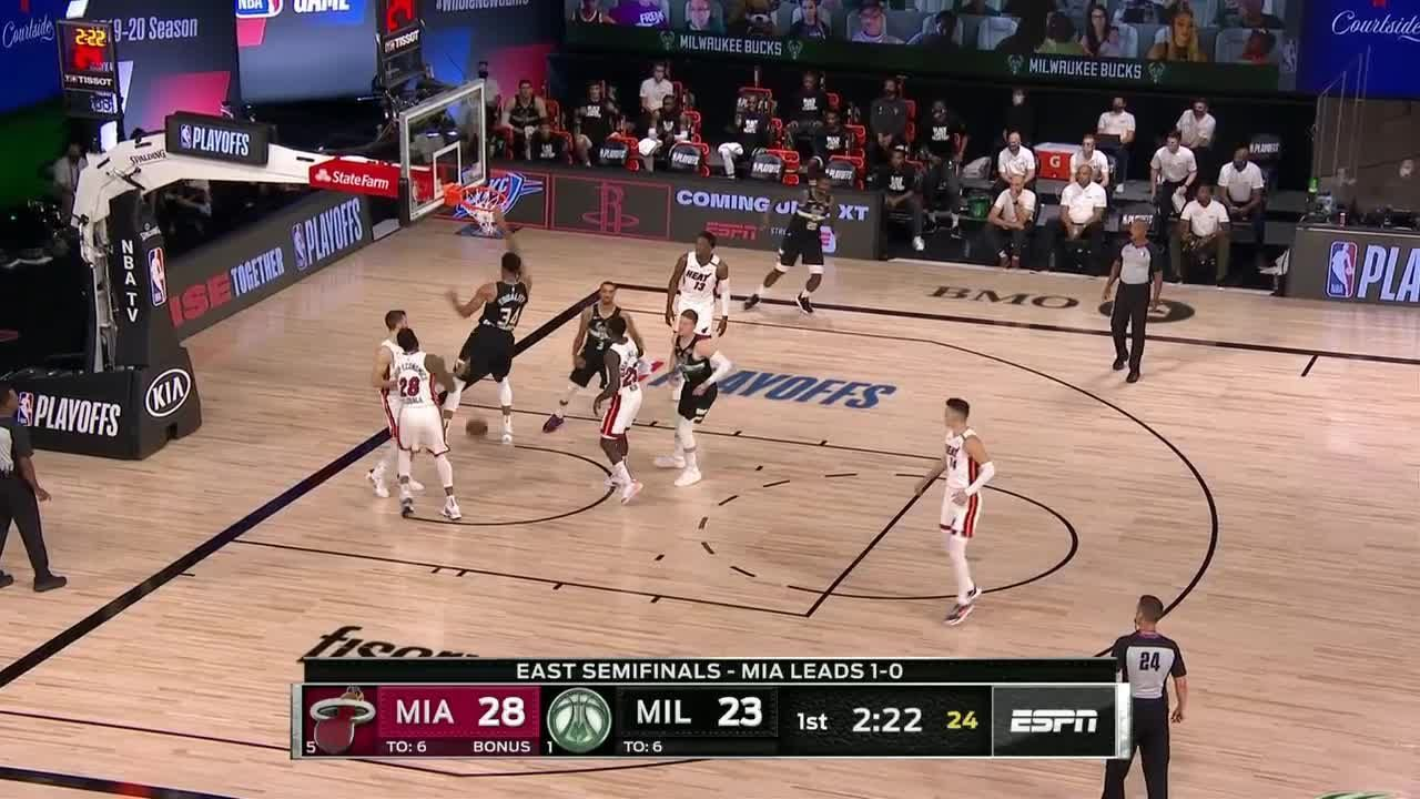 Giannis Antetokounmpo with a dunk vs the Miami Heat in