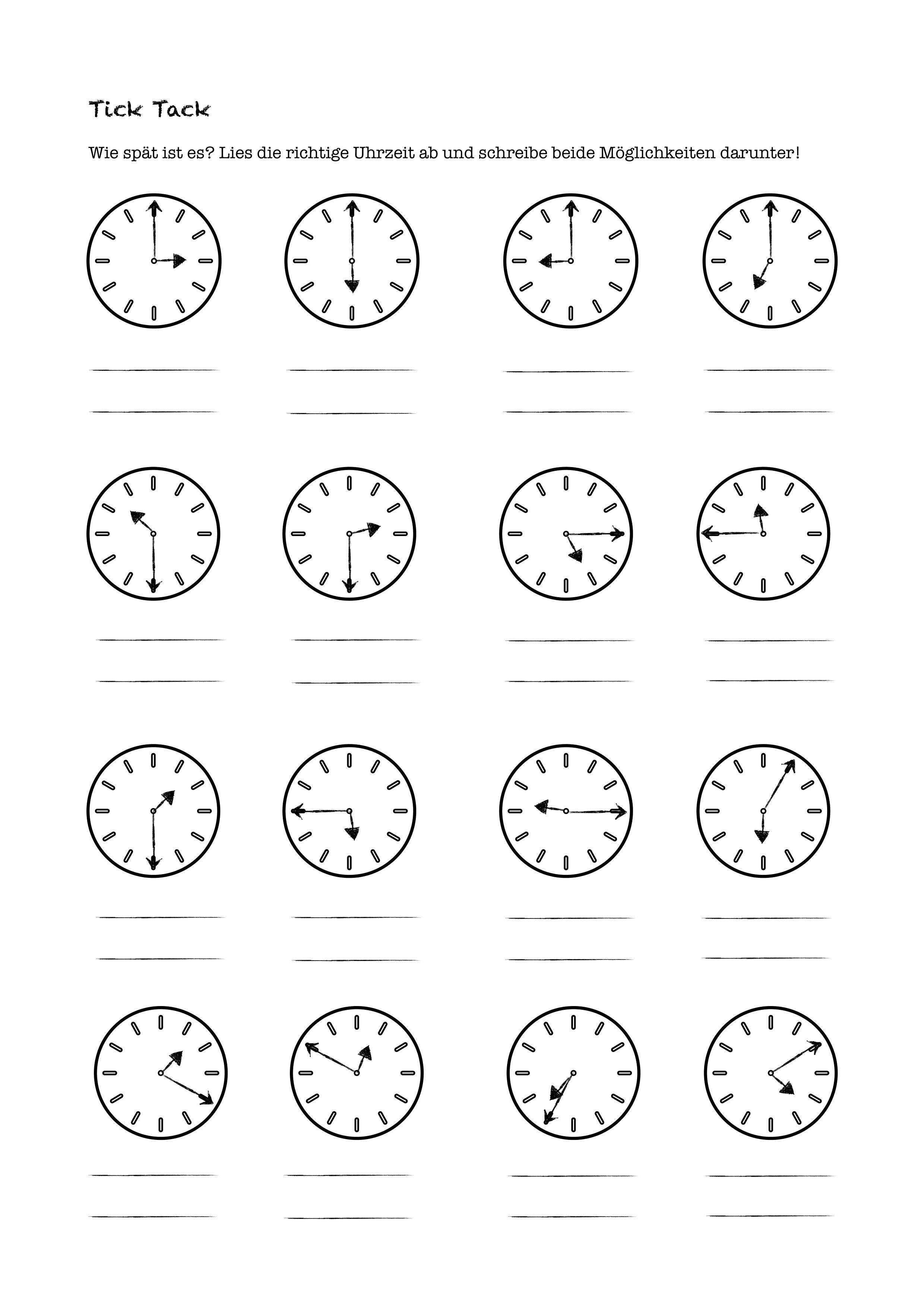 Uhrzeit – Unterrichtsmaterial in den Fächern Mathematik ...