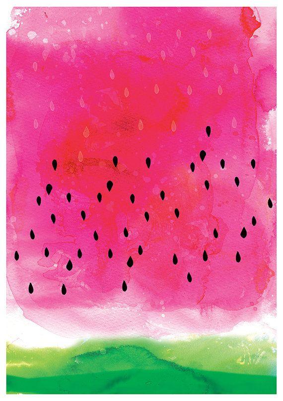 Cute Wallpapers Pineapple Watermelon Watermelon Wash Art Print By Lovelysweetwilliam On Etsy