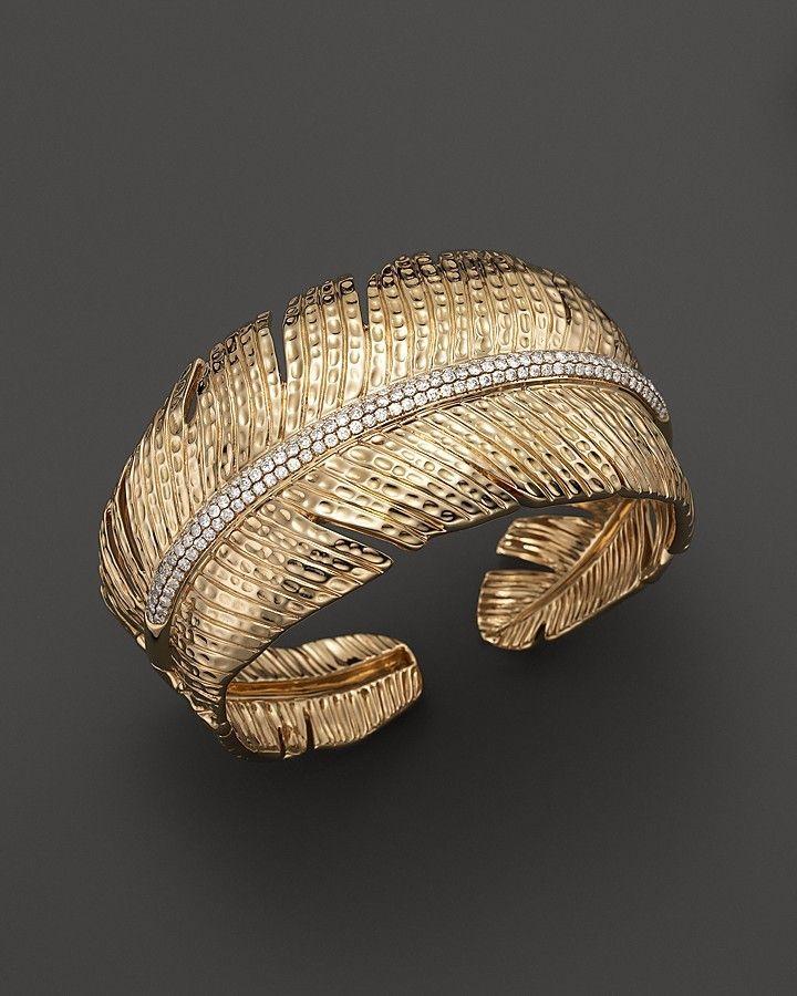 Michael Aram 18K Yellow Gold Feather Cuff with Pavé Diamonds on ...