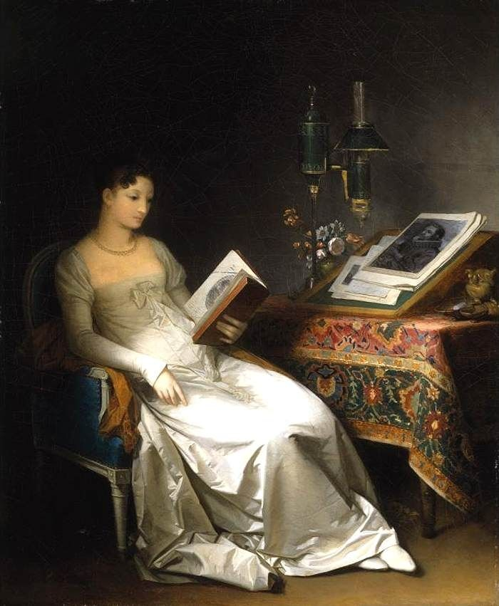 """""""Lady Reading in an Interior"""" oil on canvas by Marguerite Gerard"""