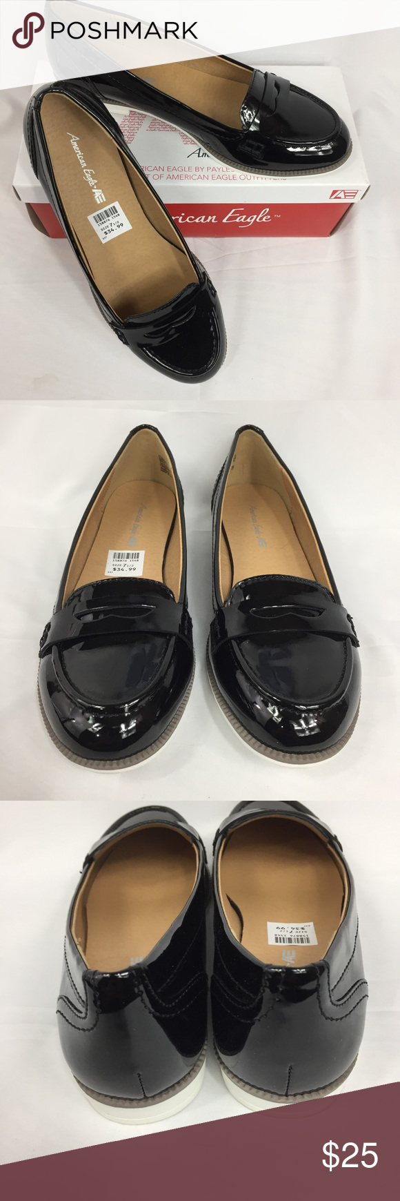 887504b61c8 American Eagle for Payless Patent Penny Loafer 7.5 New in box Faux patent  leather in black with white sole. Please see pictures for details.