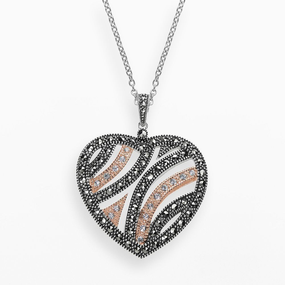 """Lavish by TJM 14k Rose Gold Over Silver and Sterling Silver Crystal Heart Pendant - Made with Swarovski Marcasite, Women's, Size: 18"""", Brown"""