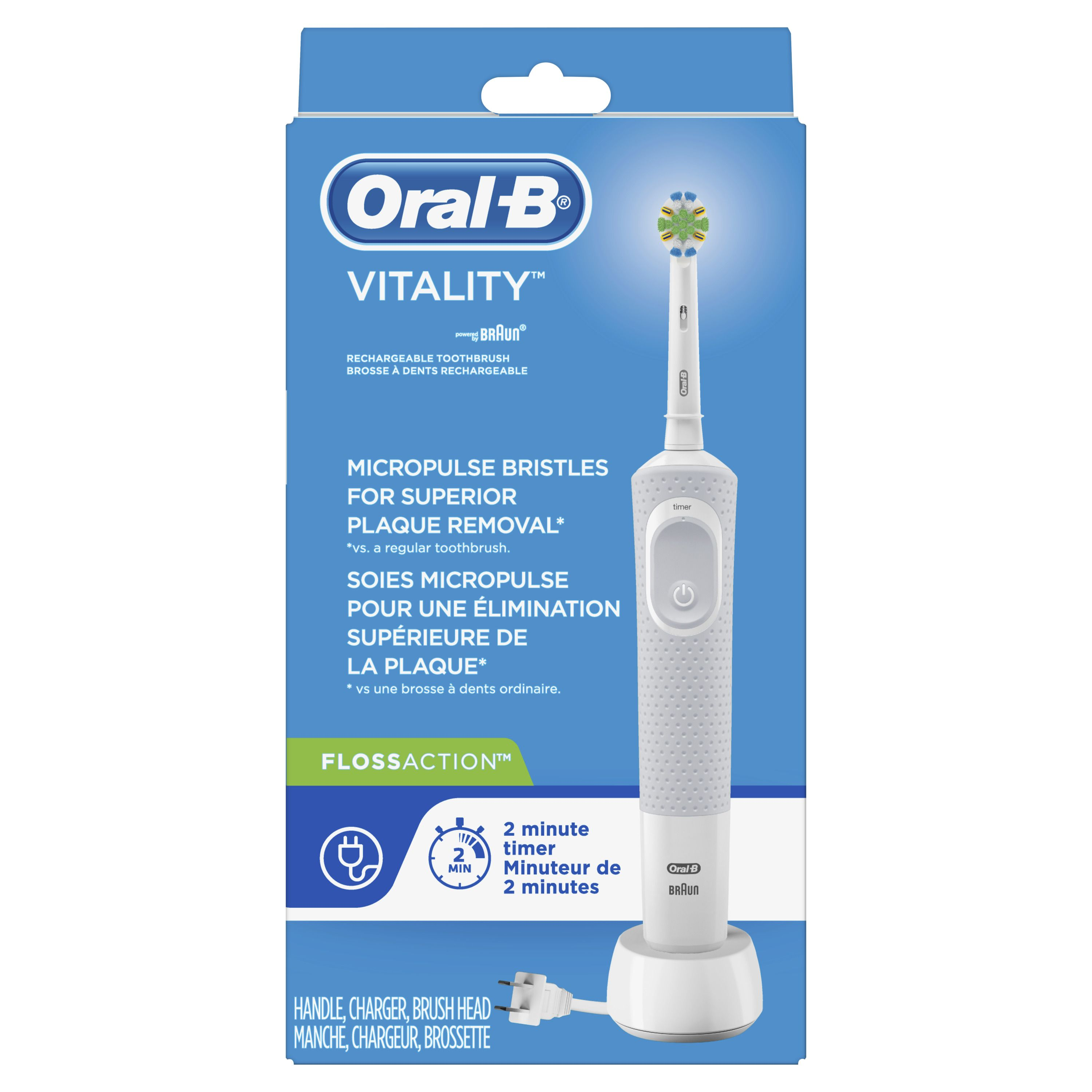 Oral B Vitality Flossaction Electric Toothbrush Rechargeable Walmart Com Oral B Vitality Rechargeable Toothbrush Oral B