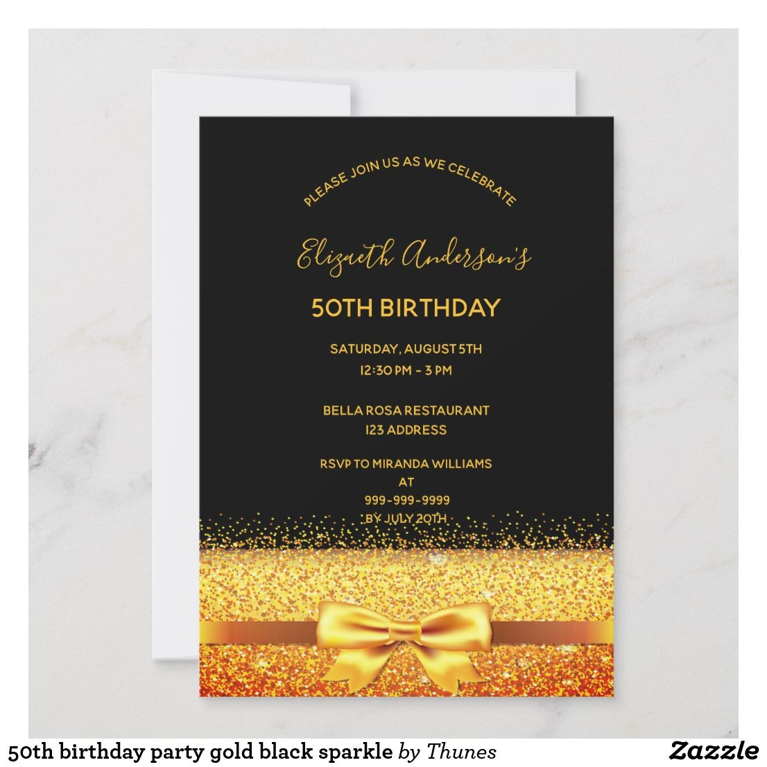 50th birthday party gold black sparkle holiday card
