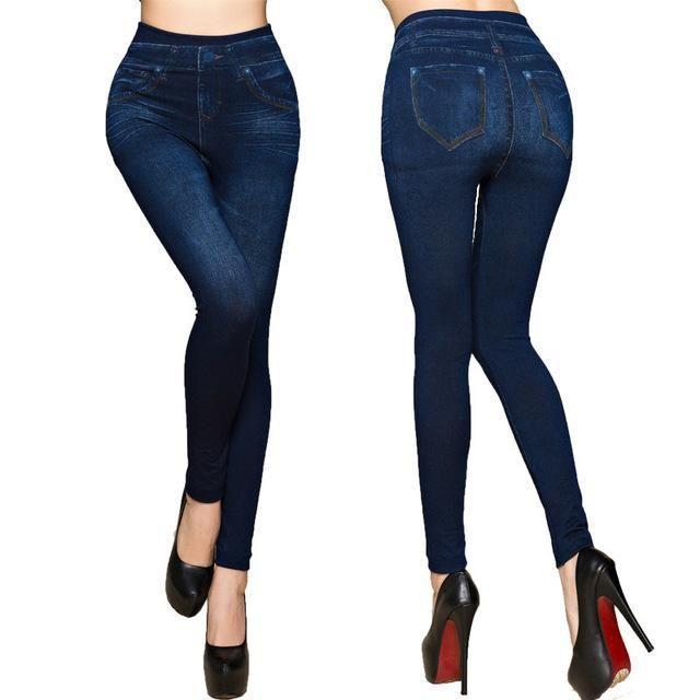 Faux Denim Jeans Leggings