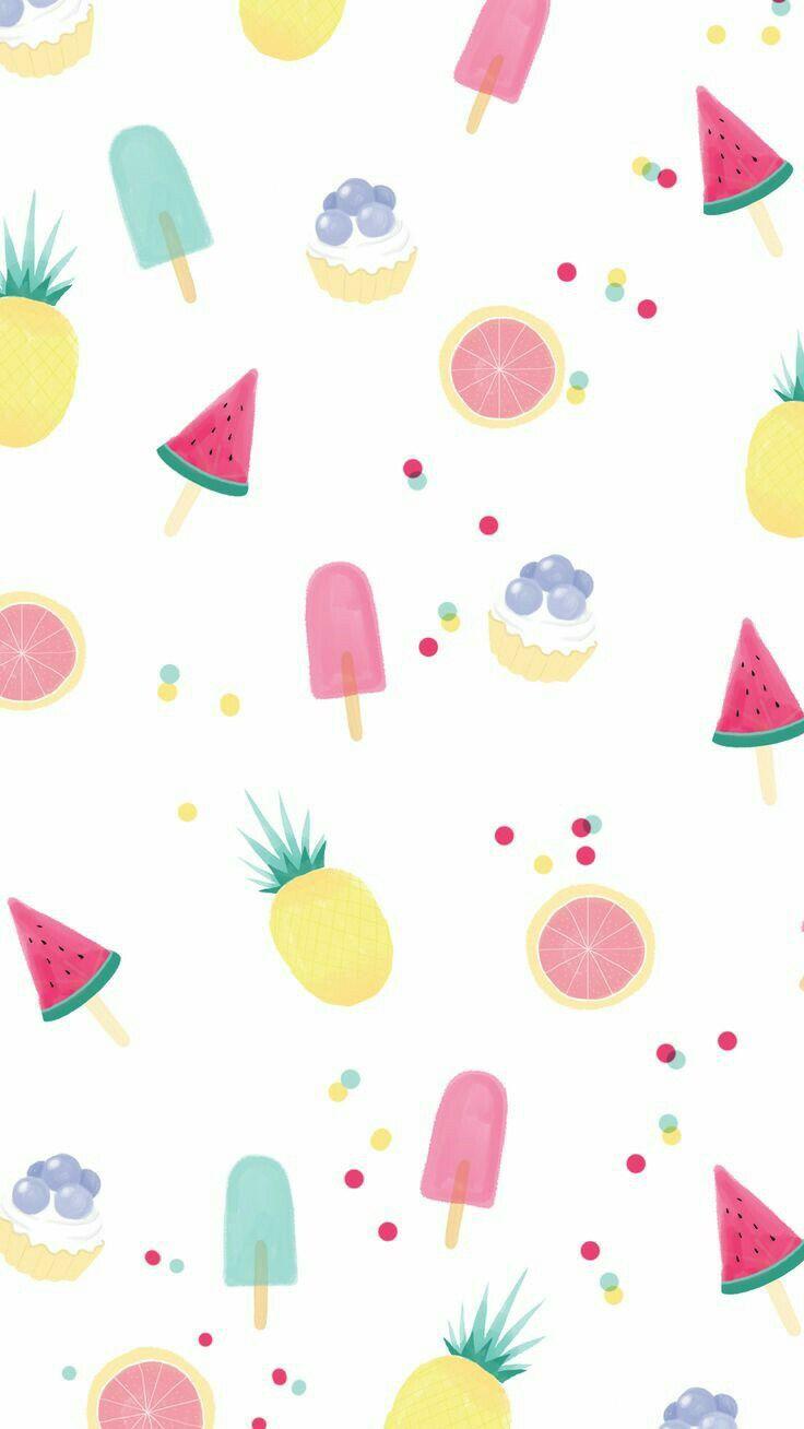 Summer Fruits Cute Wallpapers Pattern Wallpaper Kawaii Wallpaper