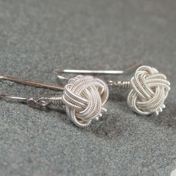 Chinese Button Knot earrings in sterling silver