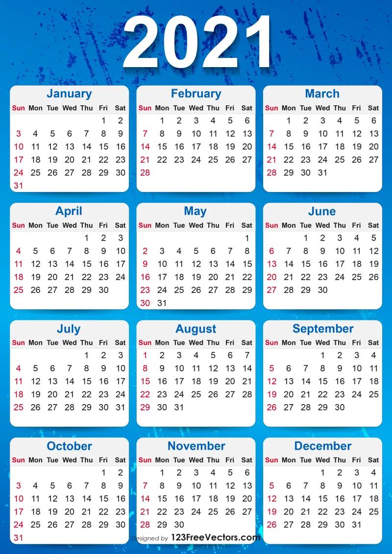 Free 2021 Yearly Calendar Printable Yearly Calendar Template Printable Yearly Calendar Calendar Template