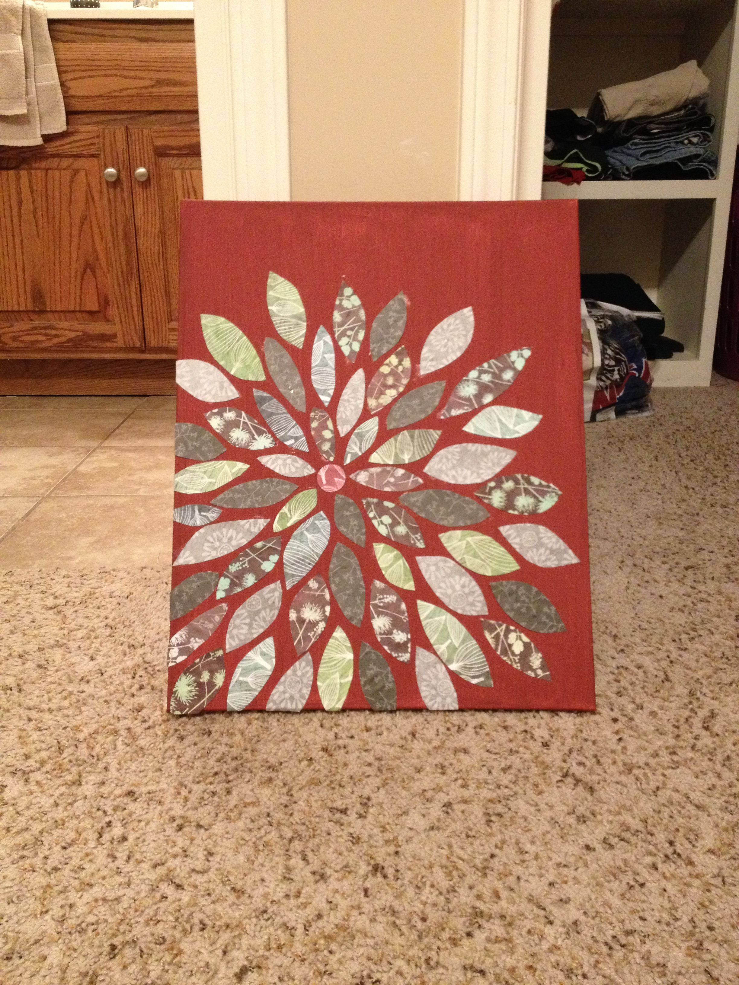 Canvas flower wall art i love the red background with black and
