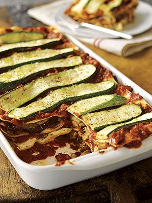 Using no-boil lasagna noodles cuts the prep time for this vegetarian casserole.